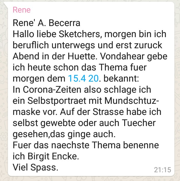 """UskDo Donnerstag: """"Selbstportrait mit Mundschutz"""""""